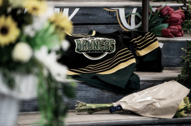 WSAU Radio. An old jersey is laid on the steps of the Bronco's home arena. They would have played game 6 tonight.