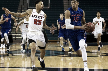 Boise State's Chandler Hutchison drives past UTEP's Keith Frazier/Photo: Joshua S. Kelly/USA Today Sports