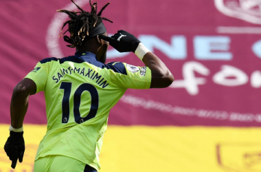Saint-Maximin wheels away after scoring Newcastle's winning goal (photo image from ESPN)