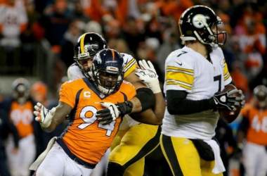 DeMarcus Ware #94 of the Denver Broncos gets around Alejandro Villanueva #78 of the Pittsburgh Steelers as Ben Roethlisberger #7 drops back to pass during the AFC Divisional Playoff Game at Sports Authority Field at Mile High on January 17,