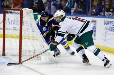 Jason Zucker opened the scoring with this first period goal in the Wild's win in game one. Photo by Jeff Roberson, AP Images.
