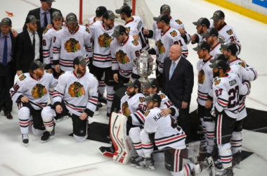 The Chicago Blackhawks celebrate after winning their third western conference title in six years. Photo by Mark J. Terrill, AP.