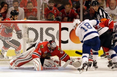 Ondrej Palat scores the goal that tied the game at two in the third period. Photo by Charles Rex Arbogast, AP.