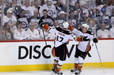 Kesler celebrates after scoring the game tying goal in the third period that forced overtime. Photo by Trevor Hagan/The Canadian Press via AP