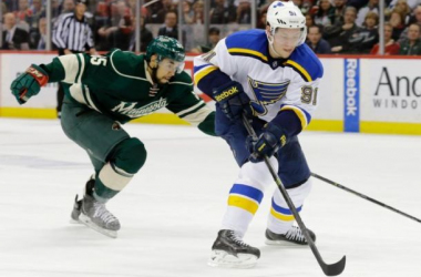 Vladimir Tarasenko handles the puck against the Wild. He scored two more goals in game four to total five in this series, with all five in the Blues two wins. Photo by Ann Heisenfelt, AP Images.