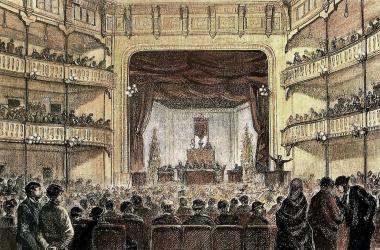 Grabado del Congreso Obrero de Barcelona en 1870 | Foto: Wikipedia