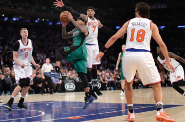 Isaiah Thomas penetrating the New York defense / AP Photo - Julie Jacobson