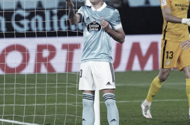 Iago Aspas celebrando el primero de sus goles frente al Sevilla FC / Foto: @RCCelta