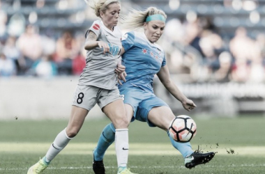 Julie Ertz (right) scored the game-winner for Chicago | Source: NWSL Soccer