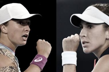 """<div><br></div><div><p style=""""margin-bottom: 0cm; color: rgb(0, 0, 0); font-size: medium; font-style: normal; text-align: start;""""><font size=""""5""""><b>Iga Swiatek y Belinda Bencic. Foto WTA</b></font></p></div>"""