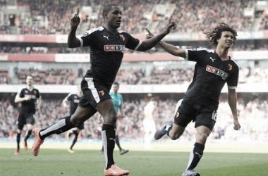 Ighalo celebrates his goal at the Emirates Stadium. Photo: watfordfc.com