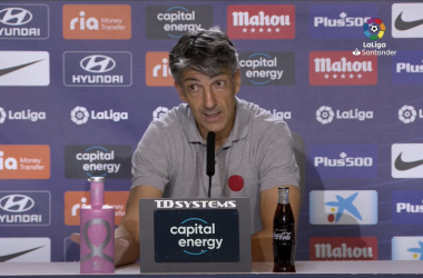Imanol Alguacil, en la comparecencia post-partido en el Wanda Metropolitano. Foto: Getty Images.