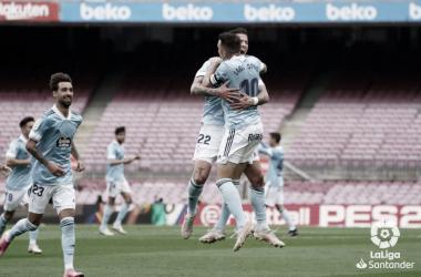 Aspas, Mina y Brais celebran un gol | Fuente: LaLiga