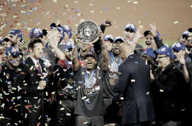 U.S. Pitcher Marcus Stroman holds up his MVP trophy after the United State defeated Puerto Rico 8-0 in the final ofthe World Baseball Classic |Mar 22, 2017 Source: Jae C. Hong/AP|