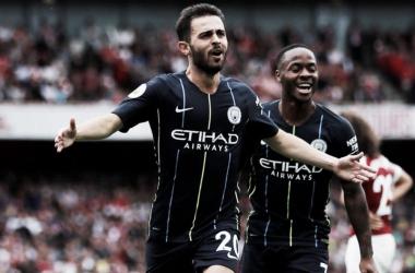 Bernardo Silva festeja el segundo gol del partido   Foto: Premier League