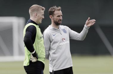 Gareth Southgate durante el entrenamiento. Foto: Inglaterra.