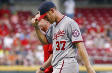 Stephen Strasburg threw only sixteen pitches prior to being removed from the game Friday. His final line read as 1.0 IP, 2 H, 1 ER, and 1 BB.  Photo courtesy of David Kohl from USA Today Sports.