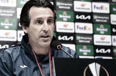 "<p class=""MsoNormal"">Unai Emery en la rueda de prensa // Foto: Villarreal C.F<o:p></o:p></p>"