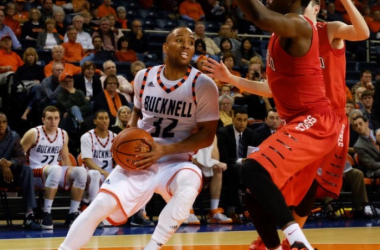 Even with 20 points from Ryan Frazier (seen above) to complement Chris Hass' 19 and Nana Foulland's 15, Bucknell fell for their seventh straight game. Photo courtesy of Joel Turrell and Bucknell Bison.
