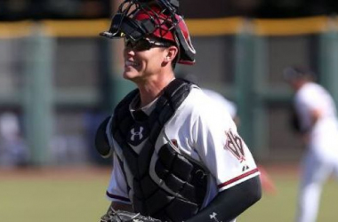 After bombing a 471 foot home run and collecting four hits in 10 ML at bats, Peter O'Brien has given the desert something to be excited about for the future. Photo courtesy of Bill Mitchell of MLB.com.