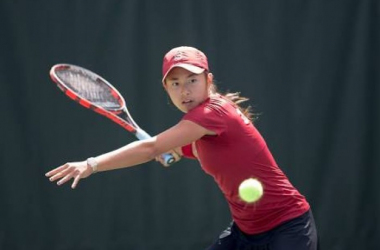 Zhao going for a forehand during the NCAA championships. (Picture credits: Stanforddaily.com)