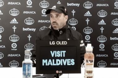 Eduardo Coudet en la rueda de prensa | Fuente: RC Celta