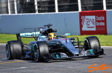 Lewis Hamilton took over the W08 in the afternoon and was quickest of all. (Image Credit: Sutton Images)