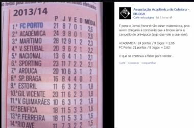 Página oficial da Acadêmica demonstrou indignação com o erro cometido pelo jornal (Foto: Victor Villarinho)