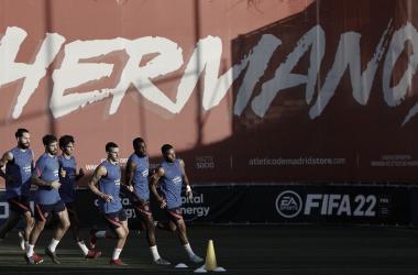 El equipo entrenando en la ciudad deportiva | Foto: Atlético de Madrid