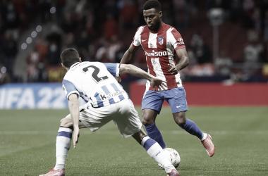Lemar encarando a un jugador de la Real Sociedad | Foto: Atlético de Madrid