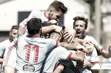 Jugadores del Celta B celebrando un gol en Barreiro. | Foto: RC Celta