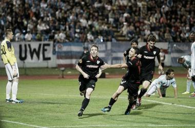 Muniain celebra el gol anotado frente al Slovan Bratislava. | Foto: Athletic