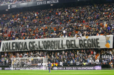 Mensaje de la Curva Nord en el último derbi disputado en Mestalla FUENTE: valenciacf.com