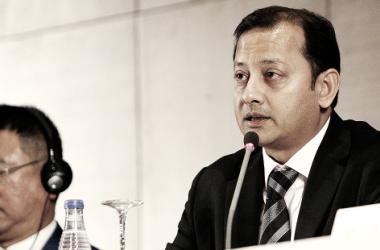 Anil Murthy, presidente del Valencia CF durante su comparecencia I Foto: Valencia CF
