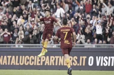 El Shaarawy celebrando uno de sus goles ante la Sampdoria | Fuente: AS Roma.