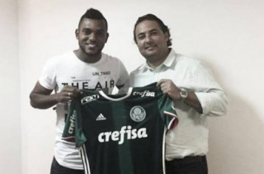 Miguel Borja em sua apresentação no Palmeiras (Foto: Divulgação/Palmeiras