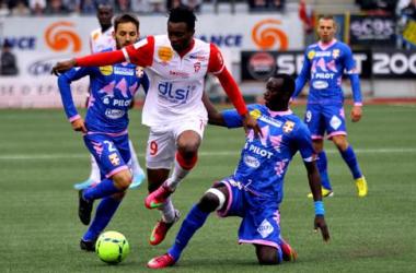 Benjamin Moukandjo a été le sauveur de l'AS Nancy Lorraine face à Évian. - asnl.net
