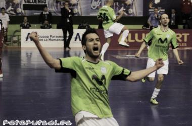 Rafael celebra uno de sus 48 goles con la camiseta de Inter Movistar (Foto: Dani Mullor | VAVEL | Fotofutsal).
