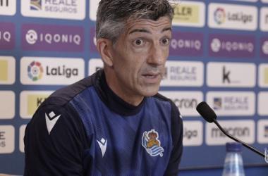 Imanol Alguacil en la rueda de prensa previa al partido frente al Valencia CF // Foto: Real Sociedad