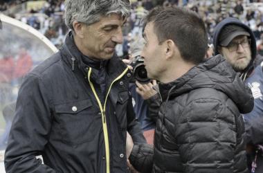 Imanol Alguacil y Asier Garitano se saludan en el choque entre la Real Sociedad y Leganés de la pasada temporada (FOTO:// LaLiga)