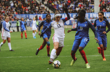 Alex Morgan goes for the game-winning goal | Source: Cindy Lara - VAVEL USA