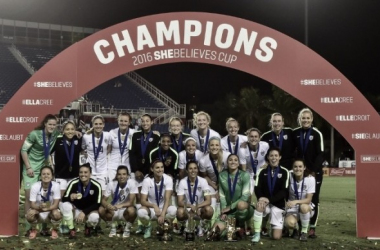 The USWNT as they claim the 2016 She Believes Cup Championship title. Source: US Soccer