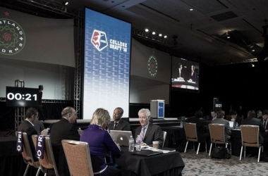 The Orlando Pride staff at the 2016 NWSL Draft | Source: NWSL