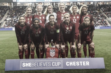 The eleven US players before the match against Germany in Chester, Pennsylvania. Source: US Soccer