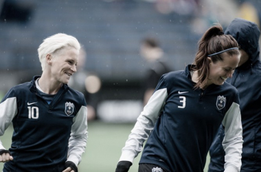 Jess Fishlock (left) with defender Lauren Barnes (right). | Source: Seattle Reign