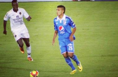 Villareal debutó con Millonarios en la Liga Postobón, ante Fortaleza. Foto: @servilla6,