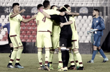 Jugadores de la Selección Venezolana sub-21 celebrando el triunfo | Fotografía: Federación Venezolana de Fútbol