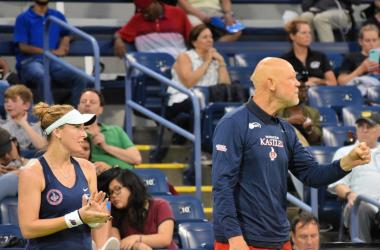Madison Brengle (l.) and coach Murphy Jensen (r.) celebrate during Washington's victory over New York/Photo: John Lupo/VAVEL UK