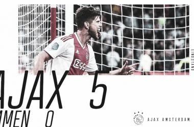 Ajax arrasa al Emmen y conserva el liderato. Foto: AFCAjax