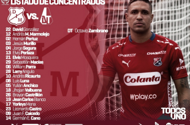 Convocados del Independiente Medellín para la primera semifinal ante Deportes Tolima